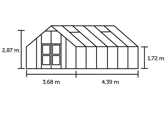 Hobbykas GARDENER 161, Antraciet grijs gecoat (Tuinkas met veiligheidsglas) 2.jpg