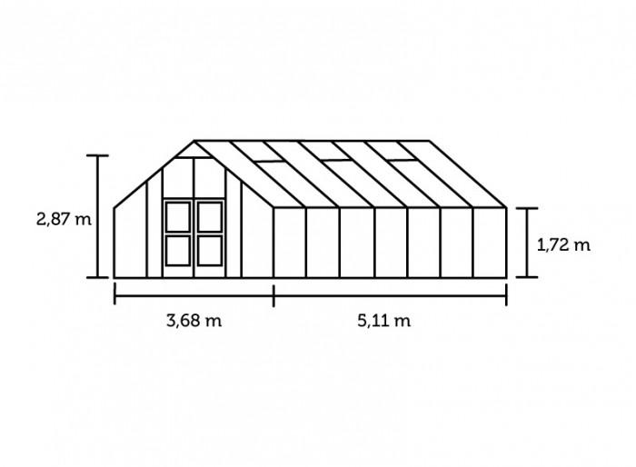 Hobbykas GARDENER 188 Blank aluminium (Tuinkas met tuindersglas) 2.jpg