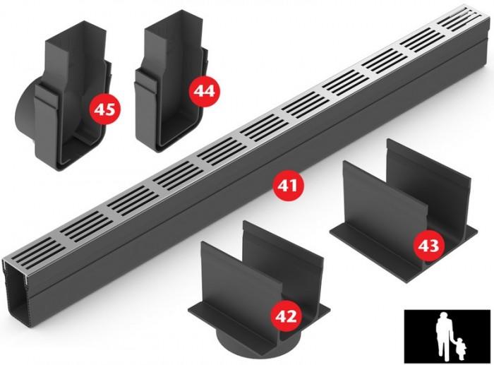 Aco slimline kunststof afvoergoot met aluminium designrooster afwateringstechniek b v - Tuin oprit plaat ...